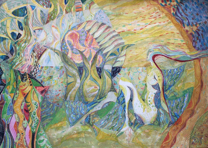 Dream of summer - Drawing,  35x50 cm ©2002 by Biser Panayotov -                                                            Contemporary painting, Paper, Fantasy, art