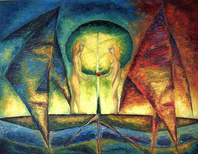 The Beginning - Painting,  70x90 cm ©1996 by Biser Panayotov -                                            Contemporary painting, Fantasy, Biser Panayotov, artist, art, drawing, painting, Ruse, Bulgaria, art of good quality, kunst af god kvalitet, art hea kvaliteediga, ealaín de chaighdeán maith, arte de la buena calidad