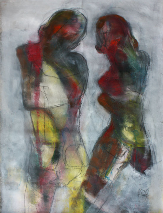 ABSENCE 2 - Painting,  110x75 cm ©2017 by DOV MELLOUL -                                                            Contemporary painting, Canvas, Body, CORPS, NU, MASCULIN