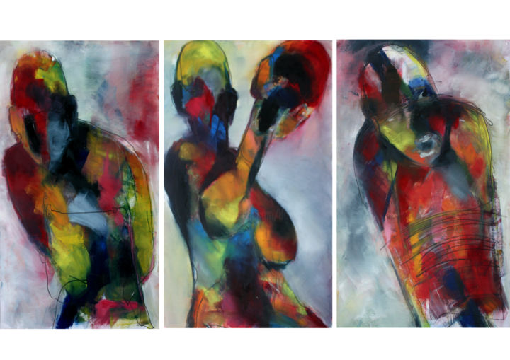 COULEURS INTENSES - Painting,  65x135 cm ©2017 by DOV MELLOUL -                                                            Art Nouveau, Paper, Body, ENSEMBLES