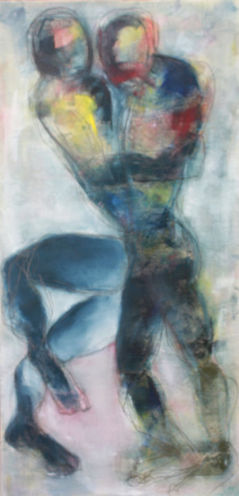 ENTRES JAMBES - Painting,  59.1x27.6 in, ©2019 by Dov Melloul -                                                                                                                                                                                                                          Expressionism, expressionism-591, Body, #CONTEMPORARYART