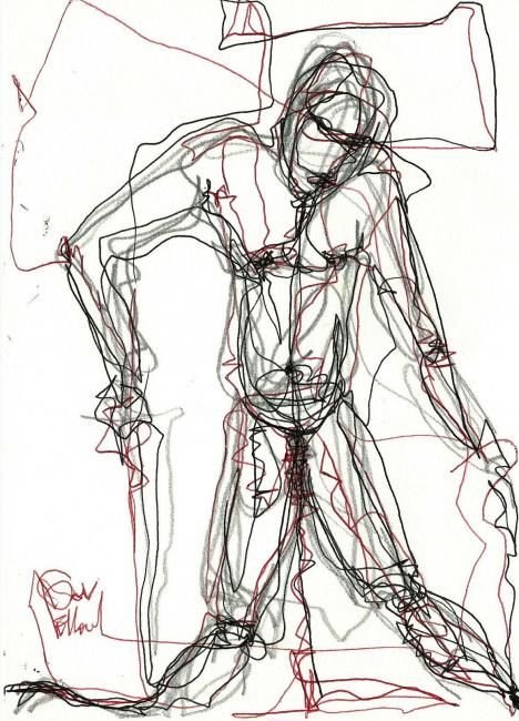 9 JANVIER 2013 - Drawing,  8.3x5.8 in, ©2013 by Dov Melloul -