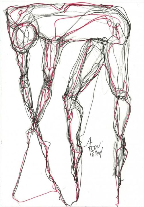 1 AVRIL 2013 - Drawing,  8.3x5.8 in, ©2013 by Dov Melloul -