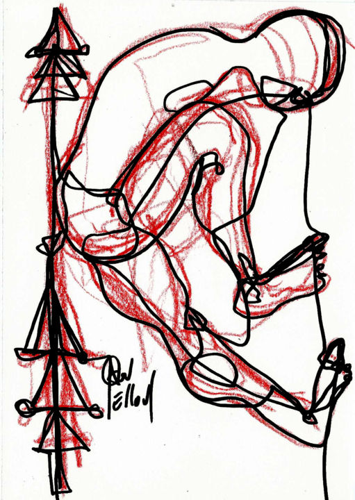 20 DEC 2013  MON BEAU SAPIN..... - Drawing,  21x14 cm ©2013 by DOV MELLOUL -            +DESSIN +DANSE +CORPS +NU +PEINTURE +SCULPTURE+++CONTEMPORAIN++
