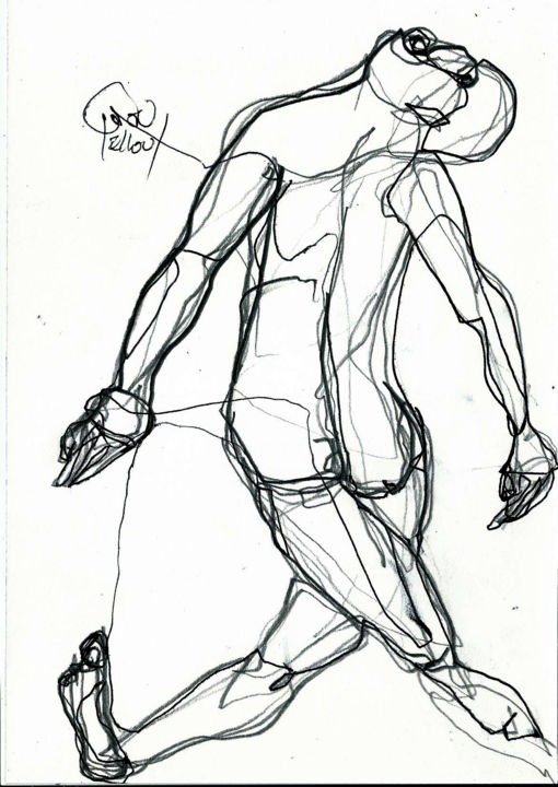 8 MARS 2014 - Dessin,  8,3x5,8 in, ©2014 par Dov Melloul -                                                                                                                                                                                                                          Expressionism, expressionism-591, Corps, MOUVEMENT +CORPS++NU ++MASCULIN++
