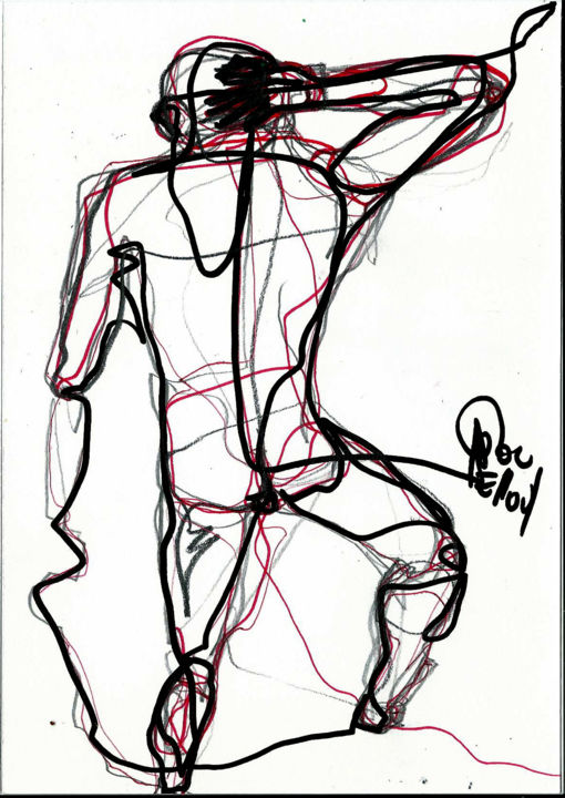 10 MARS 2014 - Dessin,  8,3x5,8 in, ©2014 par Dov Melloul -                                                                                                                                                                                                                          Expressionism, expressionism-591, Corps, DOS+++CORPS++NU +++DANSE+++