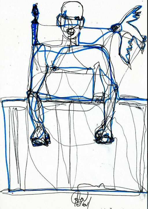 10 JUILLET 2014 - Drawing,  21x14.8 cm ©2014 by DOV MELLOUL -                                            Expressionism, Body, MOUVEMENT +++CORPS +++MASCULIN ++++