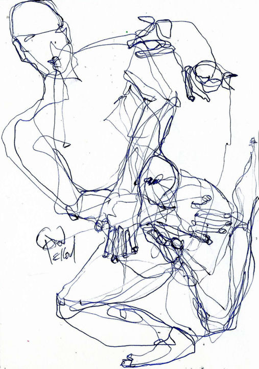"""31 JANVIER 2015"""" UNE TRES BONNE ANNEE  2015 """" - Drawing,  8.3x5.8 in, ©2015 by Dov Melloul -                                                                                                                                                                                                                                                                                                                  Expressionism, expressionism-591, Body, DESSIN, DANSE, PEINTURE"""
