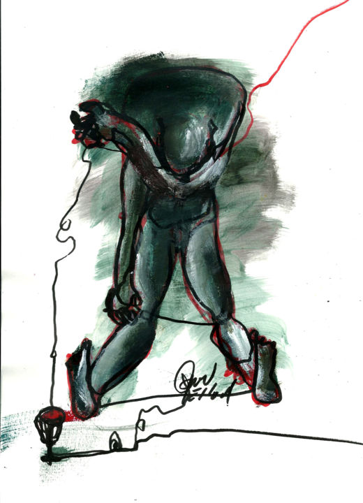 """4 AVRIL 2015 """"2 éme JOUR DE PESSA'H"""" - Drawing,  11.7x8.3 in, ©2015 by Dov Melloul -                                                                                                                                                                                                                                                                                                                      Expressionism, expressionism-591, Metal, Body, CORPS, QUI DANSE"""