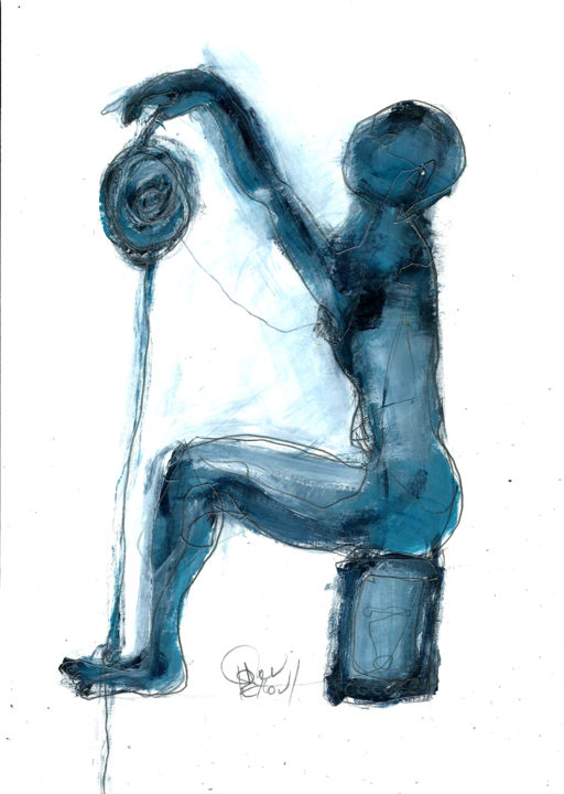 """11 AVRIL 2015 """"serie bristol 4/20"""" - Drawing,  29.7x21 cm ©2015 by DOV MELLOUL -                                                            Expressionism, Paper, Body, GESTE ASSIS"""
