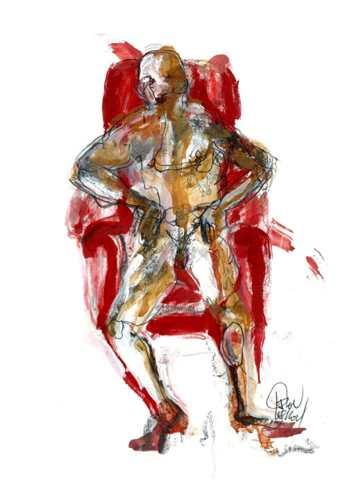 4 SEPTEMBRE 2015 - Drawing,  11.7x8.3 in, ©2015 by Dov Melloul -                                                                                                                                                                                                                                                                                                                                                                                                          Expressionism, expressionism-591, Body, TEMPS, DESSIN, PEINTURE, PRESENCE, ESPACE