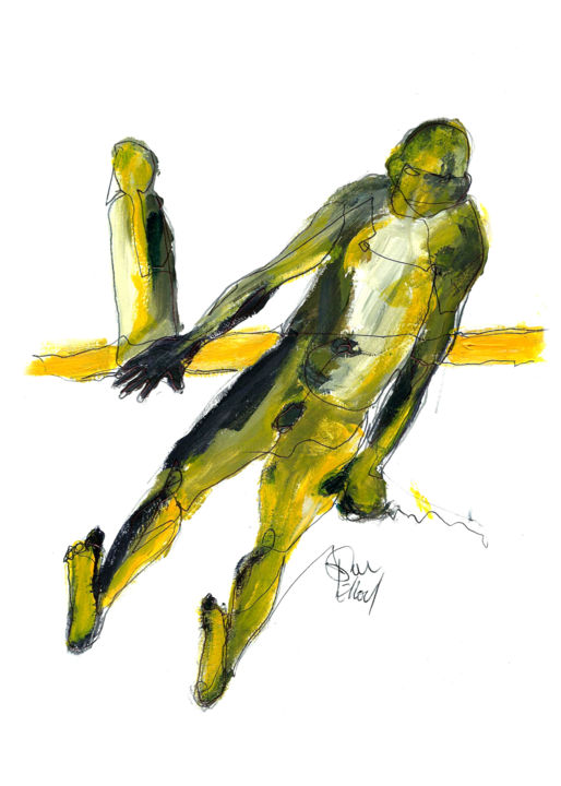 6 SEPTEMBRE 2015 - Drawing,  29.7x21 cm ©2015 by DOV MELLOUL -                                                            Expressionism, Paper, Body, TEMPS ESPACE COULEURS