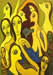 """Painting titled """"Competition"""" by Nabakishore, Original Art,"""