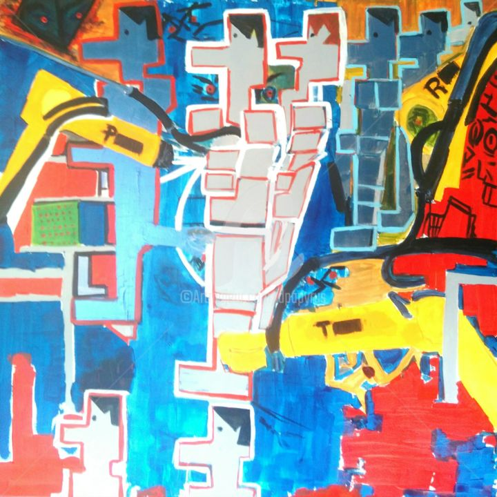 Hypnose robotique - Painting,  39.4x39.4x2 in, ©2016 by Jean Duchemin -                                                                                                                                                                                                                                                                                                              Abstract, abstract-570, Abstract Art, Colors, Robots, Education