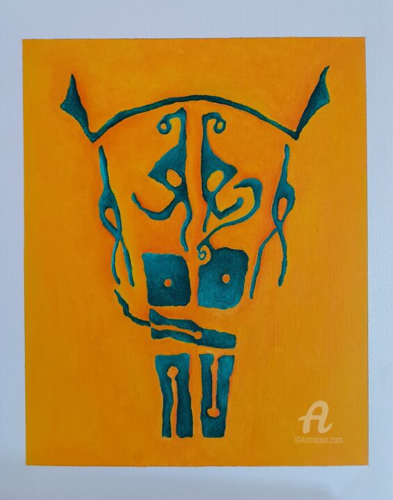 """Painting titled """"MASK No. 1 - YG"""" by R.A.Cicero, Original Art, Oil"""