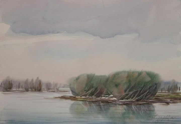 """Painting titled """"landscape"""" by Dragana Markovic, Original Art, Watercolor"""