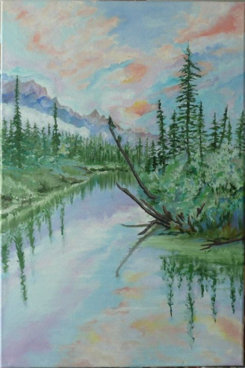 """Painting titled """"Canadian  Landscape"""" by Alicja, Original Art,"""