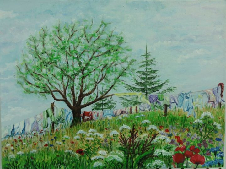 """Painting titled """"Laundry Day"""" by Alicja, Original Art,"""