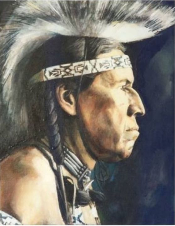 """Painting titled """"Indian chief"""" by Dragoljub Jovicic, Original Art, Oil"""