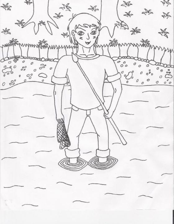 Fishing - Drawing, ©2004 by Gwen -