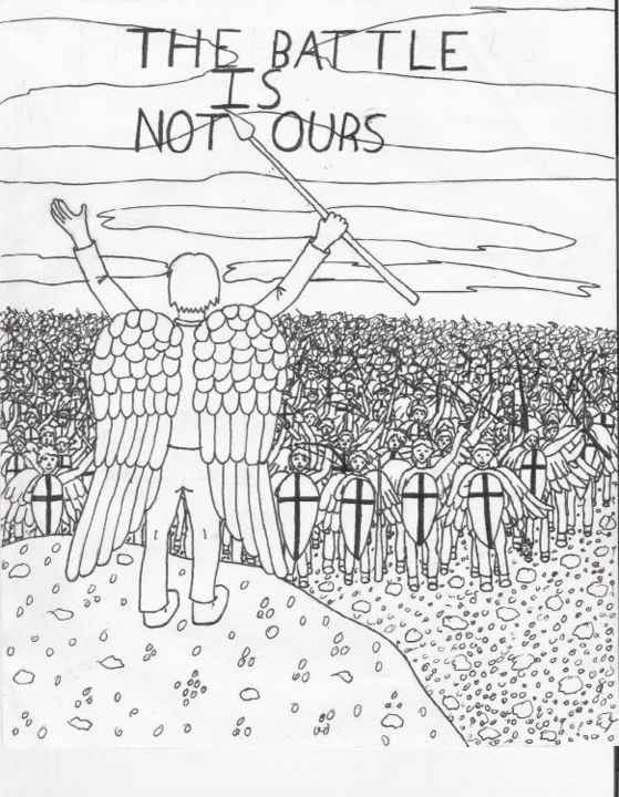 The Battle is Not Ours - Drawing, ©2004 by Gwen -