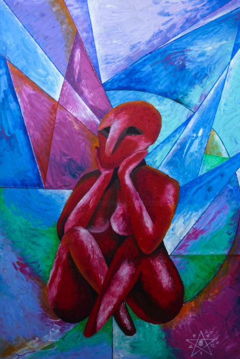 RUBY - Painting,  27.6x19.7x0.1 in, ©2018 by Dragos Bagia -                                                                                                                                                                                                                                                                                                                                                                                                                                                                                                                                                                                          Cubism, cubism-582, Angels, Body, Culture, Dark-Fantasy, Fantasy, body, geometry, statue, fantasy, thinker