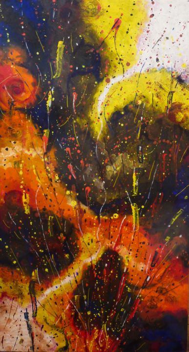 Lost Star - Painting,  24x13x0.1 in, ©2019 by Dragos Bagia -                                                                                                                                                                                                                                                                                                                                                                                                                                                                                                                                                                                                                                                                                                                              Abstract, abstract-570, Aerial, Colors, Dark-Fantasy, Fantasy, Health & Beauty, lost, star, sky, fire, astrology, chiron, kiron, asteroid