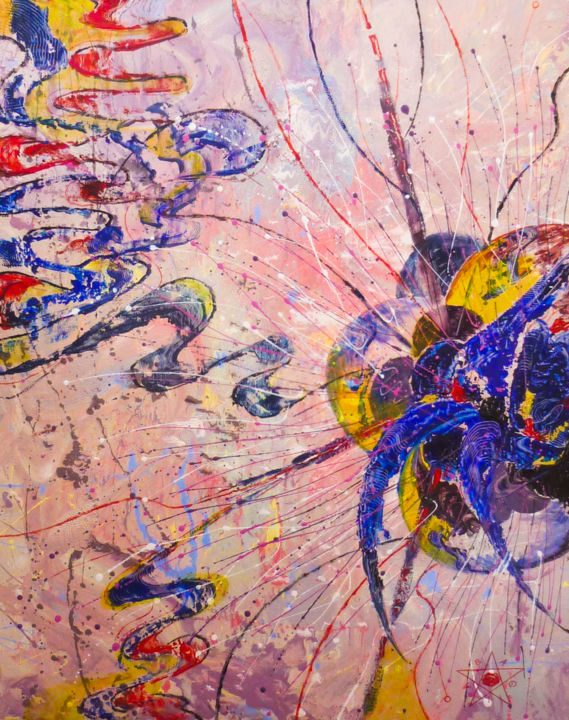 VIRUS 7041967 - Painting,  50x40x1.5 cm ©2019 by Dragos Bagia -                                                                                                                                Abstract Art, Abstract Expressionism, Contemporary painting, Expressionism, Abstract Art, Aerial, Colors, Culture, Dark-Fantasy, virus, patterns, structures, microunivers, exposure, delirium, nervouse system