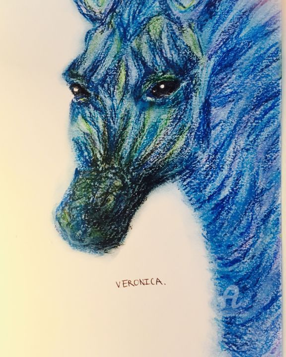 """Painting titled """"Horse from the sea"""" by Veronica, Original Art, Oil"""