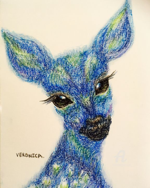 """Painting titled """"Deer from the sea"""" by Veronica, Original Art, Oil"""