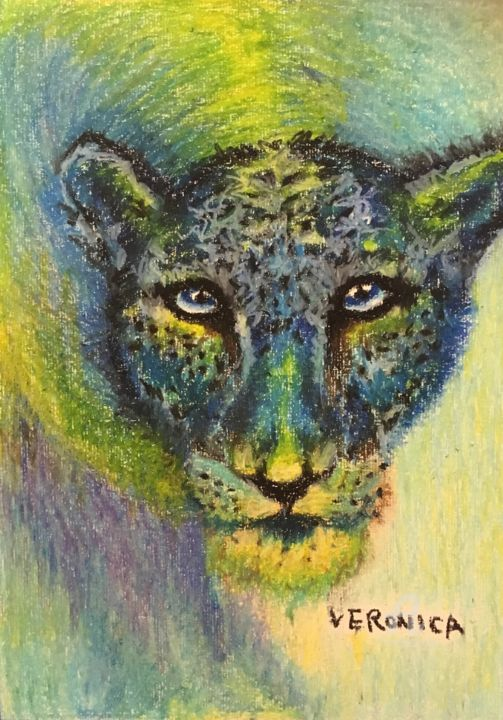 """Painting titled """"Jaguar from the sea"""" by Veronica, Original Art, Oil"""