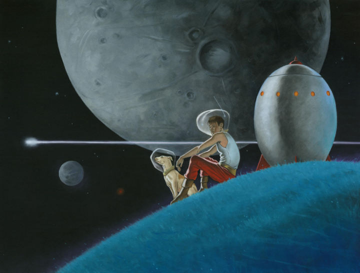 """Painting titled """"space buddies 2.jpg"""" by Stacy Drum, Original Art, Oil"""