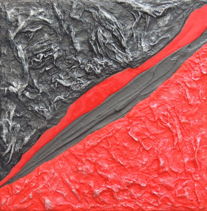 Volcano - Painting,  30x30 cm ©2013 by DS Abstract Art paintings -                                            Abstract Art, Canvas, Art abstrait, Peinture acrylique, Peinture rouge, Peinture abstraite, Tableau Design, Volcano, Peinture grise