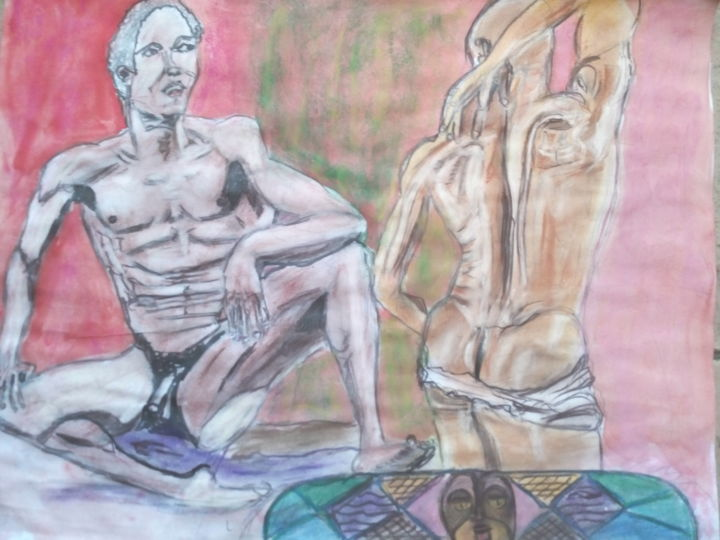 img-20180916-182604.jpg - Painting,  65x50 cm ©2018 by Herve Yann Dubois -                                                                                    Art Deco, Figurative Art, Paper, Body, Men, CORP, NU, AFRICAIN, CHEVAL