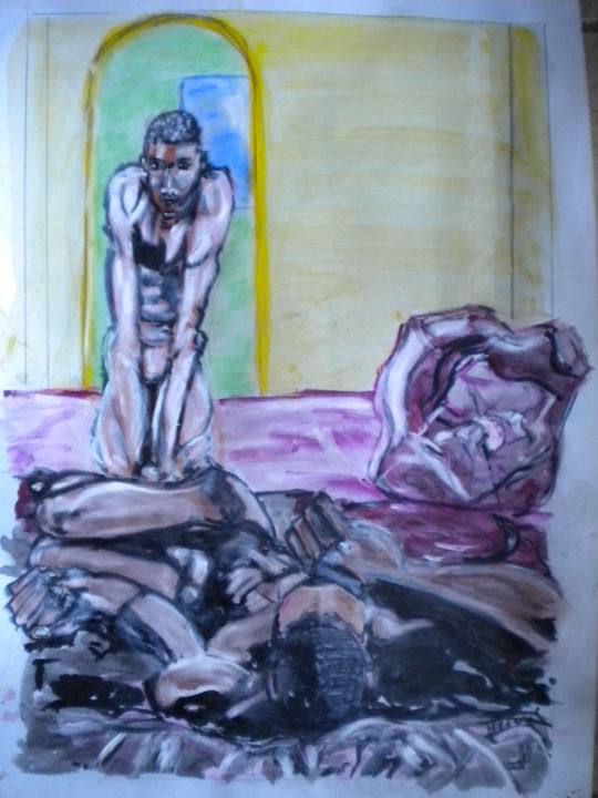 photo-086.jpg TU DORS??? - Painting,  70x50 cm ©2015 by Herve Yann Dubois -                                                            Figurative Art, Paper, Men, hommes, ethnie, nudités, zen, gay