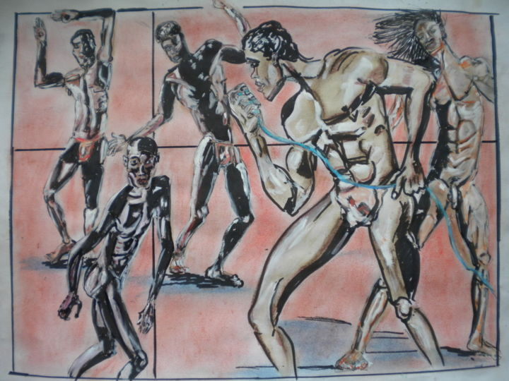 let twist again!!donnemoi la main !! - Painting,  50x70 cm ©2015 by Herve Yann Dubois -                                                            Figurative Art, Paper, Fantasy, DANCES, AFRIQUE, HOMMES NUS, GAYTTITUDE