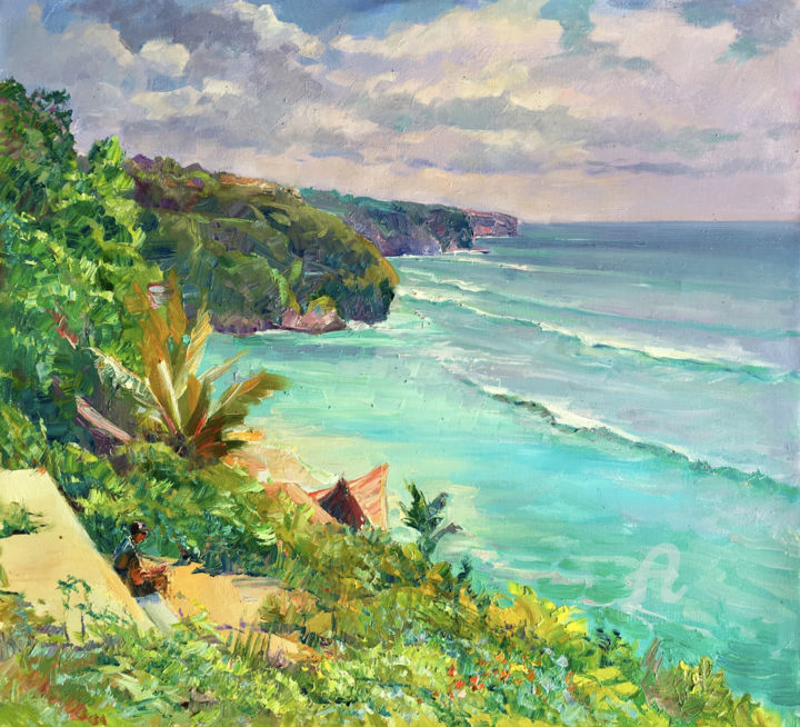 """Painting titled """"BALI- Sunny day at…"""" by Aleksandr Dubrovskyy, Original Art, Oil Mounted on Stretcher frame"""