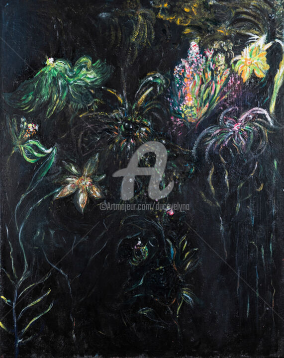 lumière végétale - Painting,  36.2x28.7 in ©2017 by Duc Evelyna -                                        Outsider Art, Flower