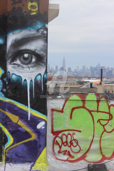 Les murs ont des yeux d'artiste... - Photography ©2017 by Duc Evelyna -                                                                                                                                Outsider Art, Environmental Art, Concrete Art, Documentary, Architecture, Graffiti, Wall, Cityscape, Cities, street art, toit, mur, regard, road city, New York, Brooklyn, rue, artiste, vue
