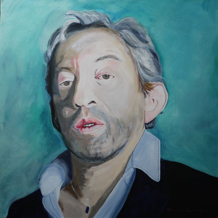gainsbourg-2.jpg - Painting,  80x80x2.5 cm ©2017 by Gérard Duchêne -                                                                                Figurative Art, Portraiture, Canvas, People, Portraits