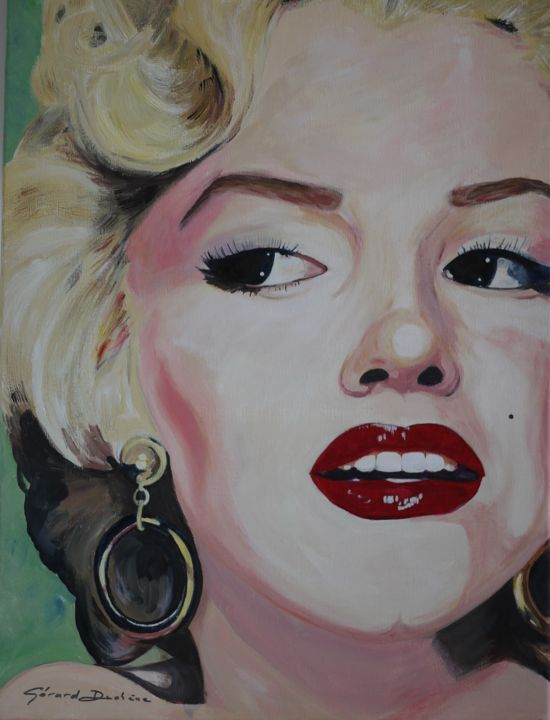 Marilyn #1 - Painting,  61x46x2.5 cm ©2017 by Gérard Duchêne -                                                                                            Figurative Art, Canvas, Celebrity, Women, People, Portraits
