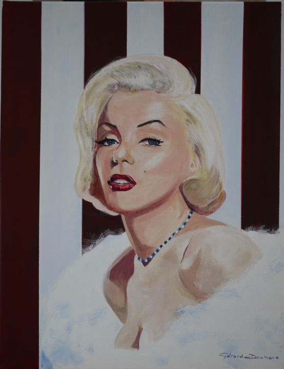 Marilyn #2 - Painting,  23.6x19.7x1 in, ©2017 by Gérard Duchêne -                                                                                                                                                                                                                                                                                                                                                                                                                                                                                                  Figurative, figurative-594, Cinema, Celebrity, Women, People, Portraits, Marilyn, Monroe, Actrice