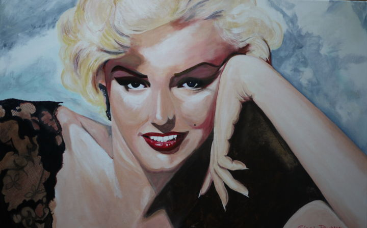Marilyn #3 - Painting,  60x90x2.5 cm ©2017 by Gérard Duchêne -                                                                                                        Figurative Art, Canvas, Cinema, Celebrity, Women, People, Portraits