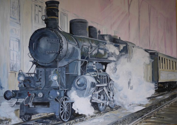 l-arrivee-en-gare.jpg - Painting,  73x54 cm ©2014 by Gérard Duchêne -                                                            Realism, Canvas, Train, Train, Locomotive, Gare