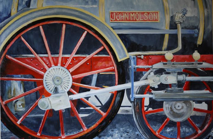 loco-john-molson.jpg - Painting,  21.3x28.7x0.4 in, ©2014 by Gérard Duchêne -                                                                                                                                                                                                                                                                                                                  Figurative, figurative-594, Train, Train, Locomotive, Gare
