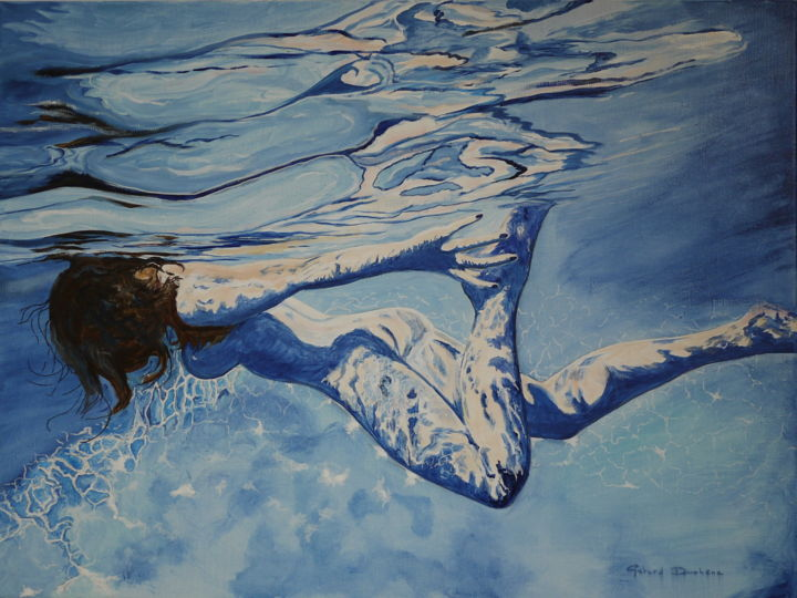 watergame-3.jpg - Painting,  60x80 cm ©2015 by Gérard Duchêne -                                                            Figurative Art, Canvas, Women, Baigneuse, nageuse, femme, eau, piscine, subaquatique