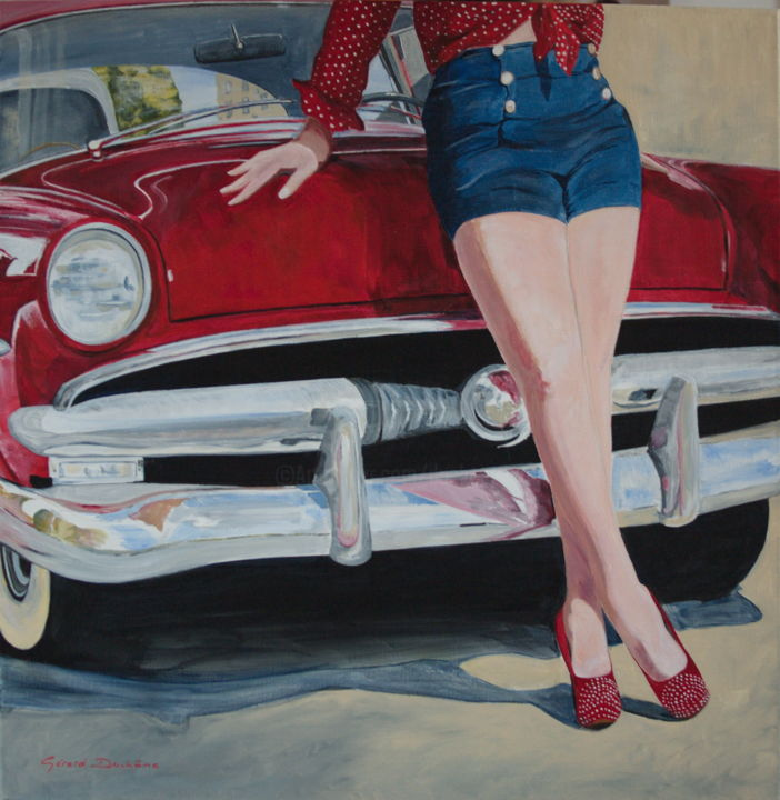 la-belle-americaine.jpg - Painting,  80x80x2 cm ©2016 by Gérard Duchêne -                                                            Figurative Art, Canvas, Portraits, américaine, belle, voiture, sexy, pinup