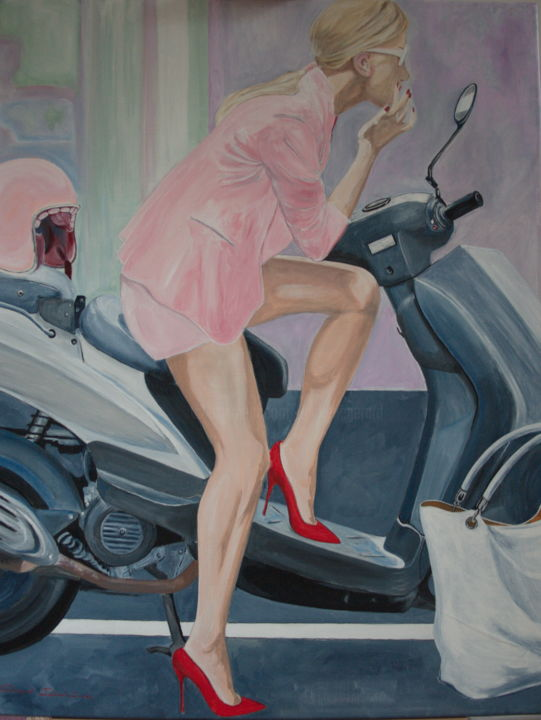 la-dolce-vita.jpg - Painting,  100x80x2 cm ©2016 by Gérard Duchêne -                                                            Figurative Art, Canvas, Portraits, Femme, scooter, maquillage