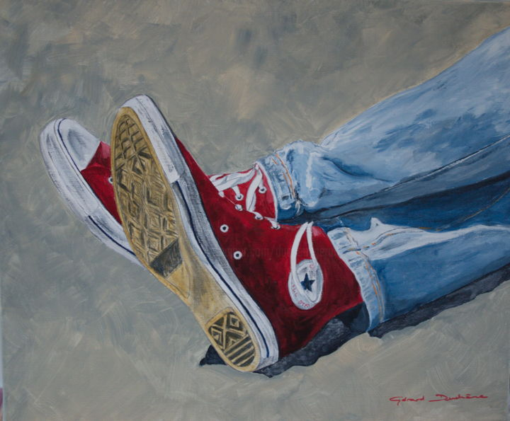 les-converse.jpg - Painting,  19.7x23.6x0.8 in, ©2016 by Gérard Duchêne -                                                                                                                                                                                                                                                                                                                                                              Figurative, figurative-594, Fashion, Converse, baskets, jeune, chaussures