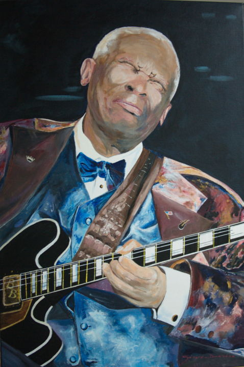 b-b-king.jpg - Painting,  90x60x2 cm ©2016 by Gérard Duchêne -                                                            Figurative Art, Canvas, Portraits, B.B. King, Blues, Guitare, songwriter